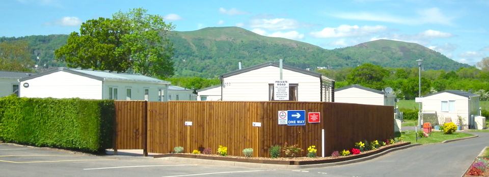 Oakmere Holiday Park with Malvern Hills as the backdrop